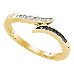 0.10 CTW Black Color Diamond Slender Bypass Ring 10KT Yellow Gold - REF-14W9K