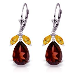 Genuine 13 ctw Garnet & Citrine Earrings Jewelry 14KT White Gold - REF-71R3P