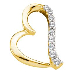 0.25 CTW Diamond Heart Pendant 14KT Yellow Gold - REF-30N2F