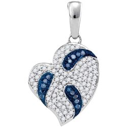 0.25 CTW Blue Color Diamond Heart Pendant 10KT White Gold - REF-25W4K