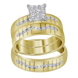 0.62 CTW His & Hers Diamond Matching Bridal Ring 14KT Yellow Gold - REF-116W3K