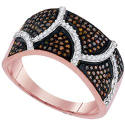 0.50 CTW Red Color Diamond Abstract Ring 10KT Rose Gold - REF-64W4K