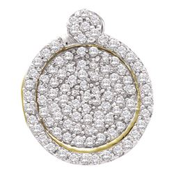 0.33 CTW Pave-set Diamond Circle Cluster Pendant 10KT Yellow Gold - REF-22M4H