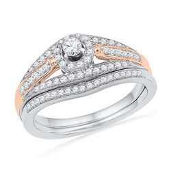 0.51 CTW Diamond Bridal Wedding Engagement Ring 10KT Two-tone Gold - REF-48N7F