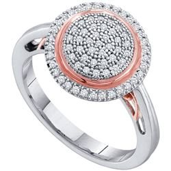 0.25 CTW Pave-set Diamond Circle Cluster Ring 10KT Two-tone Gold - REF-30K2W