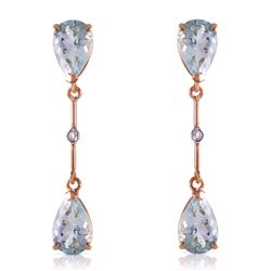 Genuine 6.01 ctw Aquamarine & Diamond Earrings Jewelry 14KT Rose Gold - REF-50W2Y