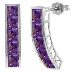 Genuine 4.5 ctw Amethyst Earrings Jewelry 14KT White Gold - REF-38X5M