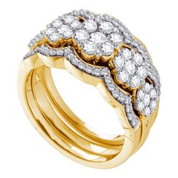 1.5 CTW Diamond 3-piece Bridal Engagement Ring 14KT Yellow Gold - REF-157W5K