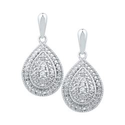 0.10 CTW Diamond Milgrain Teardrop Screwback Dangle Earrings 10KT White Gold - REF-26F9N