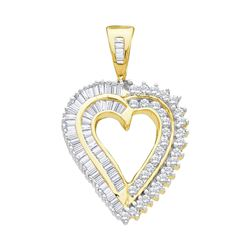 0.84 CTW Diamond Heart Love Pendant 14KT Yellow Gold - REF-52Y4X