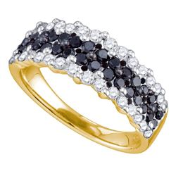 1.1 CTW Black Color Diamond Ring 10KT Yellow Gold - REF-58M4H