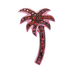 0.25 CTW Red Color Diamond Palm Tree Beach Pendant 10KT Rose Gold - REF-16Y4X