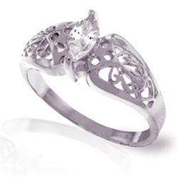 Genuine 0.20 CTW White Topaz Ring Jewelry 14KT White Gold - REF-47K2V