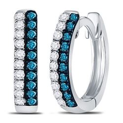 0.20 CTW Blue Color Diamond Huggie Earrings 10KT White Gold - REF-13H4M