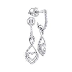 0.25 CTW Diamond Heart Dangle Screwback Earrings 10KT White Gold - REF-19F4N