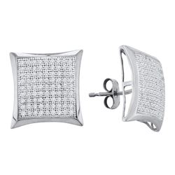 0.50 CTW Diamond Convex Square Kite Cluster Earrings 10KT White Gold - REF-34H4M