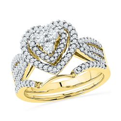 0.63 CTW Diamond Heart Bridal Engagement Ring 10KT Yellow Gold - REF-57M2H