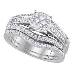 0.63 CTW Princess Diamond Soleil Bridal Engagement Ring 14KT White Gold - REF-104Y9X