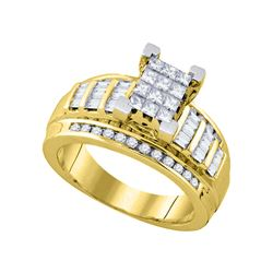 0.85 CTW Princess Diamond Cindy's Dream Cluster Bridal Ring 10KT Yellow Gold - REF-52W4K