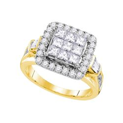 2 CTW Princess Diamond Cluster Bridal Engagement Ring 14KT Yellow Gold - REF-229H4M