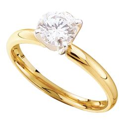 0.74 CTW Diamond Solitaire Bridal Engagement Ring 14KT Yellow Gold - REF-149M9H
