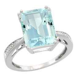 Natural 5.42 ctw Aquamarine & Diamond Engagement Ring 10K White Gold - REF-90X2A