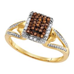 0.15 CTW Cognac-brown Color Diamond Cluster Ring 10KT Yellow Gold - REF-18M2H