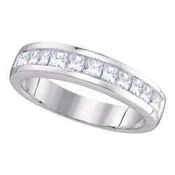 1 CTW Princess Channel-set Diamond Single Row Ring 14KT White Gold - REF-104F9N