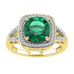 4.16 CTW Created Emerald Solitaire Square Diamond Ring 10KT Yellow Gold - REF-36M2H