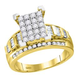 0.92 CTW Diamond Cluster Bridal Engagement Ring 10KT Yellow Gold - REF-63H2M