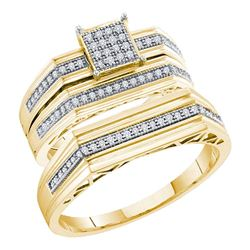 0.25 CTW His & Hers Diamond Cluster Matching Bridal Ring 10KT Yellow Gold - REF-57N2F