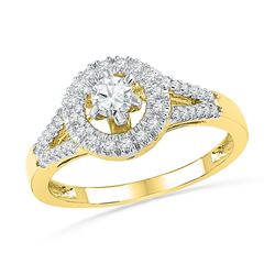 0.38 CTW Diamond Solitaire Split-shank Bridal Ring 10KT Yellow Gold - REF-44X9Y