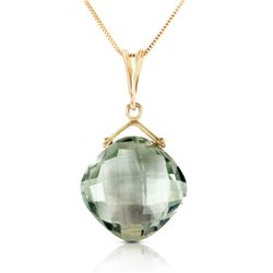 Genuine 8.75 ctw Green Amethyst Necklace Jewelry 14KT Yellow Gold - REF-27M2T