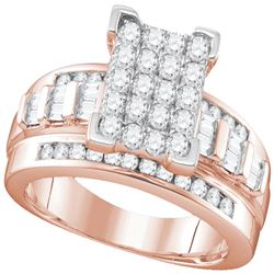1.01 CTW Diamond Rectangle Cluster Bridal Engagement Ring 10KT Rose Gold - REF-67H4M