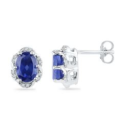 2.5 CTW Oval Created Blue Sapphire Solitaire Diamond Earrings 10KT White Gold - REF-19W4K