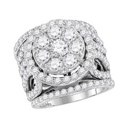 3.99 CTW Diamond Halo Bridal Engagement Ring 14KT White Gold - REF-432W2K