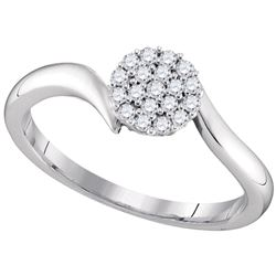 0.16 CTW Diamond Cluster Slender Simple Ring 10KT White Gold - REF-24X2Y