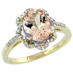 Natural 1.8 ctw Morganite & Diamond Engagement Ring 10K Yellow Gold - REF-38Y4X