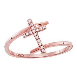 0.07 CTW Diamond Bisected Cross Ring 10KT Rose Gold - REF-9W7K