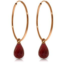 Genuine 6.6 ctw Ruby Earrings Jewelry 14KT Rose Gold - REF-26W7Y