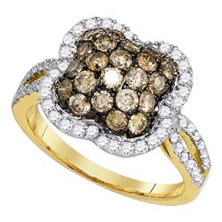 1.54 CTW Cognac-brown Color Diamond Cluster Ring 10KT Yellow Gold - REF-89W9K