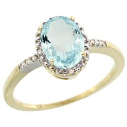 Natural 1.03 ctw Aquamarine & Diamond Engagement Ring 10K Yellow Gold - REF-20Y5X