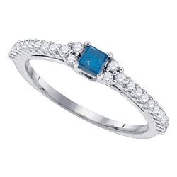 0.50 CTW Princess Blue Color Diamond Bridal Ring 10KT White Gold - REF-30M2H