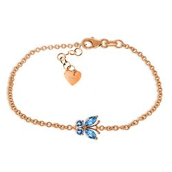 Genuine 0.60 ctw Blue Topaz Bracelet Jewelry 14KT Rose Gold - REF-41H6X