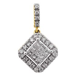 0.33 CTW Princess Diamond Diagonal Square Cluster Pendant 14KT Yellow Gold - REF-32W9K