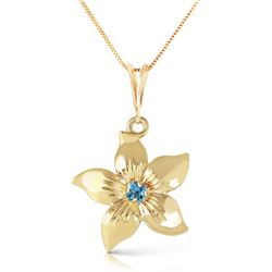 Genuine 0.10 CTW Blue Topaz Necklace Jewelry 14KT Yellow Gold - REF-38K2V