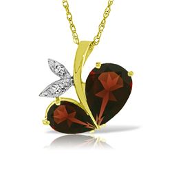 Genuine 5.06 ctw Garnet & Diamond Necklace Jewelry 14KT Yellow Gold - REF-61V8W