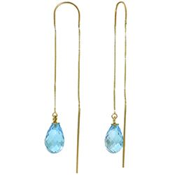 Genuine 4.5 ctw Blue Topaz Earrings Jewelry 14KT Yellow Gold - REF-20H4X