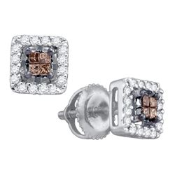 0.30 CTW Cognac-brown Color Princess Diamond Stud Earrings 10KT White Gold - REF-22W4K
