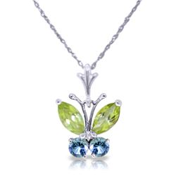 Genuine 0.60 ctw Peridot & Blue Topaz Necklace Jewelry 14KT White Gold - REF-23P5H